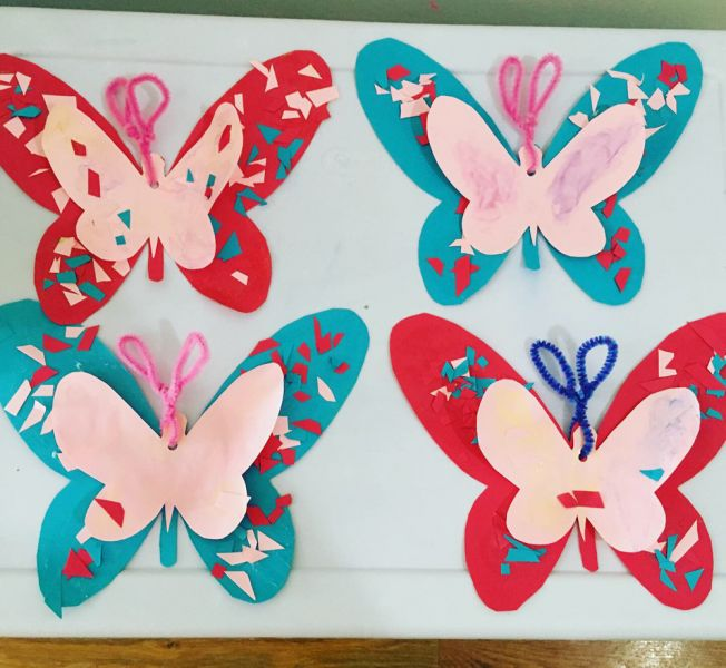 beautiful paper butterflies in hoboken art class for kids