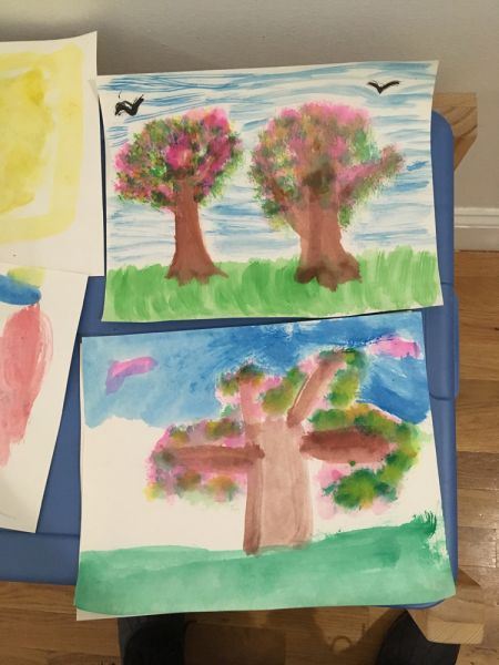 student learning watercolor art