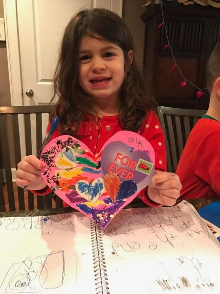 Peaceful Frogs child creates multimedia heart for Valentine's Day